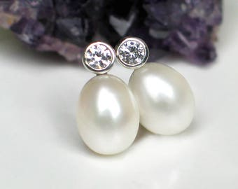 Pearl Studs Earrings | Large White Freshwater Oval Drop Pearls | CZ Sterling Silver Posts | June Birthstone | Bridal Jewelry | Ready to Ship