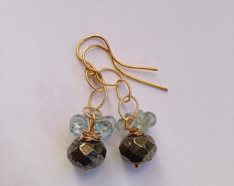 Pyrite, Aquamarine Gold fill Earrings, Lilyb444, Etsy jewelry