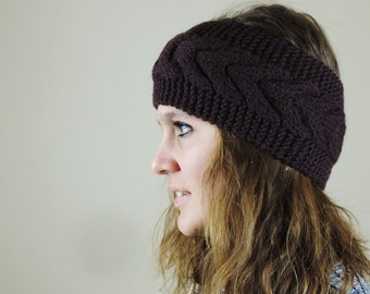 Brown Knit Headband, Cable Knit Headband, Ear Warmer, Winter Hairband, Brown Knitted Headband, Chunky Headband