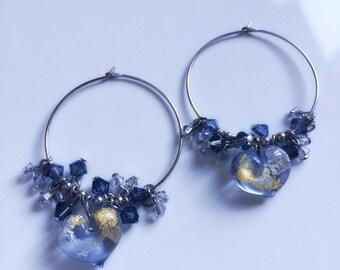 Glass heart and swarovski hoop earrings