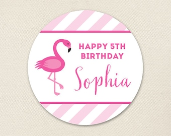 Pink Flamingo Party - Custom Stickers - Sheet of 12 or 24