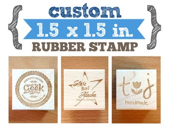 1.5 x 1.5 in - YOUR CUSTOM DESIGN - Art Wood Mounted Rubber Stamp - Perfect for Logo, Branding, Packaging, Party, Wedding Favors