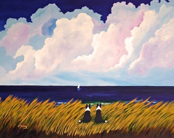 Border Collie Dog Art Print of Todd Young painting SUMMER LOVE
