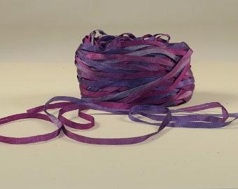 4 mm silk ribbon, variegated colors of purple, plum, magenta - 6.25 for 5 yards