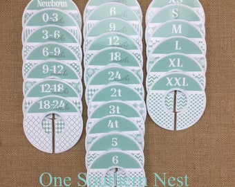 Closet Dividers, Baby Shower Gift, Newborn Baby Gift, Baby Girl Gift, Infant, Toddler, Child, size dividers, Mint Green and White