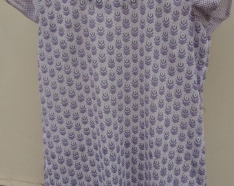 Peaceful Lavender Soft Handmade Sari Silk Women's Summer Shirt - Julie F620