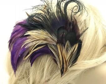 Royal Purple Feather Clip, Purple Feather Barrette, Jewel Purple Feather Fascinator, Purple Festival Clip, Boho Feather Hair Clip