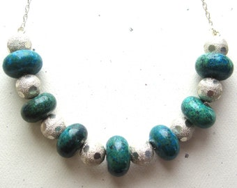 Chrysocolla and Sterling Silver Beads on Sterling Silver Necklace