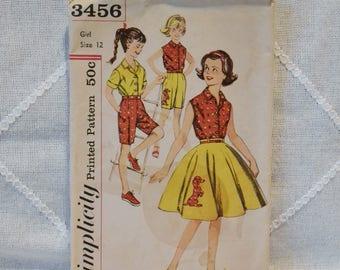Vintage Simplicity 3456 Sewing Pattern Girls Blouse Skirt Shorts Size 12 Crafts  DIY Sewing Crafts PanchosPorch