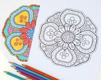 Fantasy Flower adult coloring book page, DIY printable, Hand Drawn Illustration, Instant Download, Adult Coloring Sheet, Art Therapy