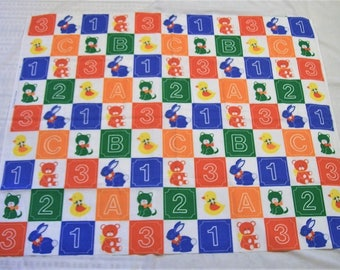 Baby Blanket, 1 2 3, A B C, baby animals, kitten, teddy bear,bunny,duck, Baby Blanket to Make, Bright Colored Baby Blanket, fabric panel