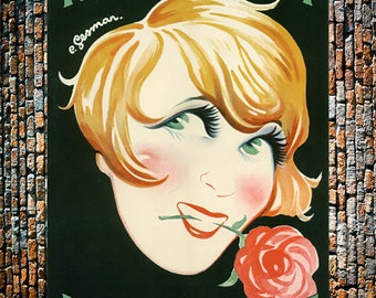 Gesmar Mistinguett Moulin Rouge Vintage Art, Mistinguett Art, Vintage Gesmar Art, Vintage Art, Giclee Art Print, fine Art Reproduction