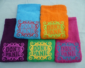Don't Panic Towel Day. Luxury HAND Towel. Douglas Adams, The Hitchhiker's Guide to the Galaxy. Do you know where your towel is?