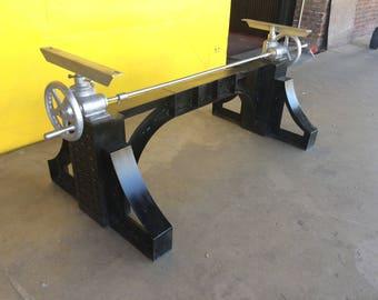 Vintage Industrial Crank Table base - Adjustable Table legs Antique Farmhouse Style