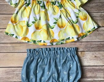 Lemon Off the Shoulder Top and Chambray Bloomers