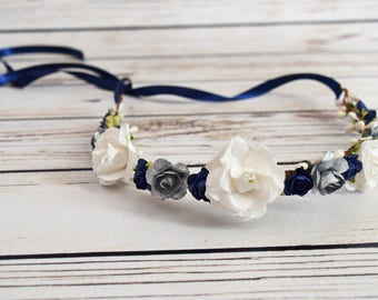 Handcrafted White Navy Blue and Silver Flower Crown - Woodland Hair Wreath - Adult Flower Crown - Wedding Rose Halo - Navy Blue Bridal