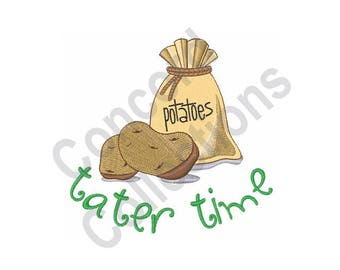 Tater Time - Machine Embroidery Design, Potatoes - Machine Embroidery Design