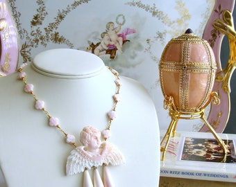Pink Shell Cherub Angel Cameo Quatrefoil Necklace - Amorette Necklace