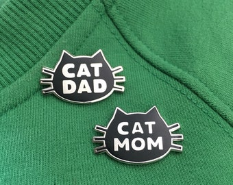 Cat Mom and Cat Dad Matching Hard Enamel Pin Black and Nickel