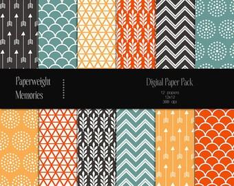 Exotic Flower - digital patterned paper - Instant Download -  digital scrapbooking - Commercial use
