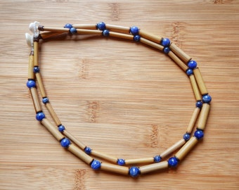 Kauai Bamboo Jewelry - Hawaiian Bamboo and Sodalite Necklace