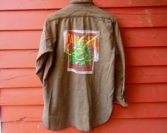 1900s Upcycled Mens Army Green Wool Powell Peralta Caballero Bones Brigade Button Up 43 Skater WW1 Collectible