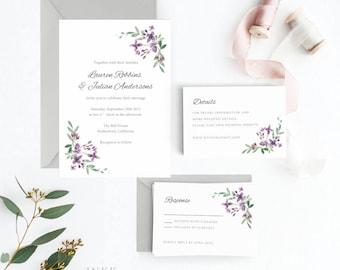 Floral Wedding Invitation Suite, Wedding Invitation Printable, Invitation Set, Wedding Invitation Rustic, PDF Letter or A4 (Item code: P917)