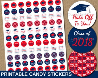 High School Graduation Party Ideas for Candy Buffet, Red and Navy Graduation Candy Stickers, College Graduation Candy Buffet Graduation G2