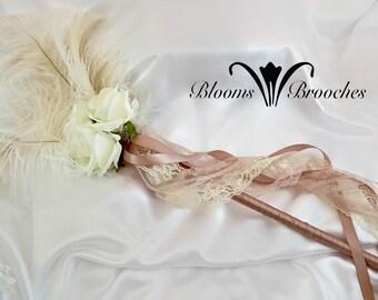 Flower wand, Flower girl wand, Flower girl wands, flower basket alternative, wedding wand, feather wands, ivory flower girl