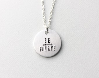 Be Fierce necklace, strong woman necklace, girl power necklace, arrow necklace, girl power, feminist necklace, feminist jewelry