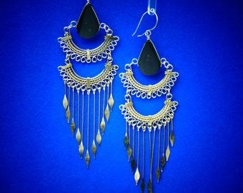 "Black Elegant Earrings // Elegant Earrings // Black Earrings // Gift For Her // Black Jewelry // Long Earrings // 4.25"" // Black // P1"