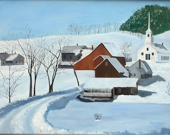 New England Village with Church in Winter