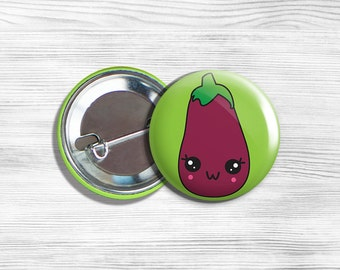 Kawaii Eggplant Vegan Vegetarian Fruit Vegetable Pinback Button Pin 1.75""