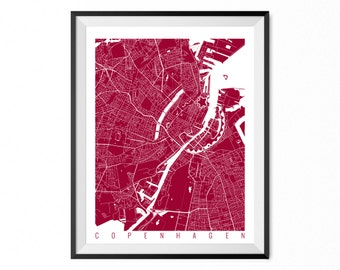 Copenhagen Print Art / Copenhagen Map Art Denmark Poster Wall Art / Line Art / Choose Size and Color