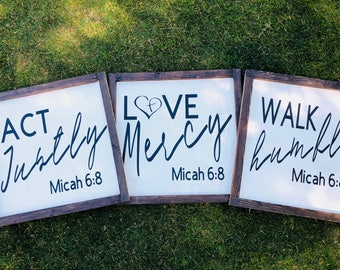 Micah 6:8 verse wood sign, farmhouse sign, act justly, walk humbly, love mercy wood sign 3 piece