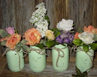 Painted mason jar mint green weddings decorations centerpiece wedding vases rustic wedding cottage chic barn wedding centerpieces