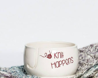 Knit Happens | Knitting Bowl | Yarn bowl for knitting | Ceramic Yarn Bowl |  Yarn Bowl Gift for Knitters handmade in my Charleston Studio
