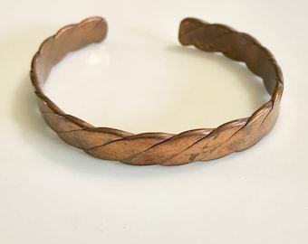 on sale mid century jewelry vintage brass copper cuff bracelet braid twist design adjustable