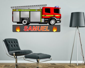 FIRE ENGINE Truck Personalised Wall Sticker children's bedroom decal art graphic mural customised