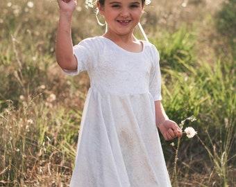 LDS baptism dress, Miss Sophie twirl dress, communion dress, flower girl dress, white dress, girls modest dress, dress with sleeves