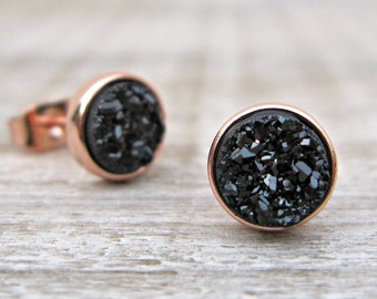 Minimalist earrings, rose gold earrings, black druzy studs, tiny 6mm studs, bridal earrings, bridesmaid gift, great gatsby, raw stone