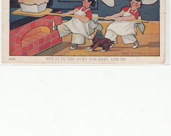 Artist Signed 1907 Antique Postcard Little Chefs Marvel At Their Wonderful Loaf Of Fresh Baked Bread