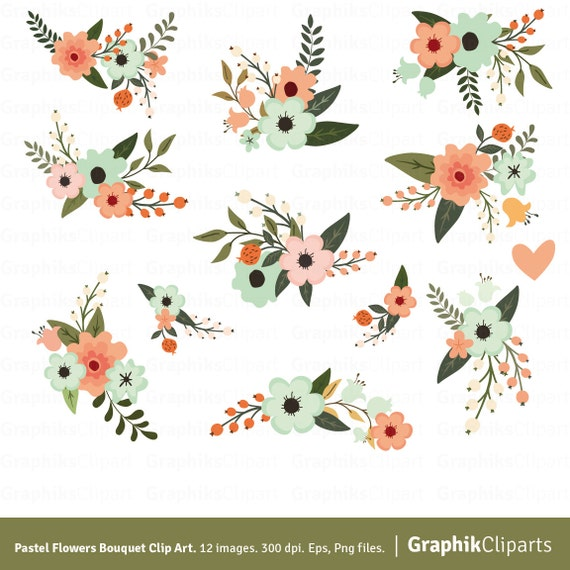 Pastel Flowers Bouquet Clipart. Flower Clipart. Floral