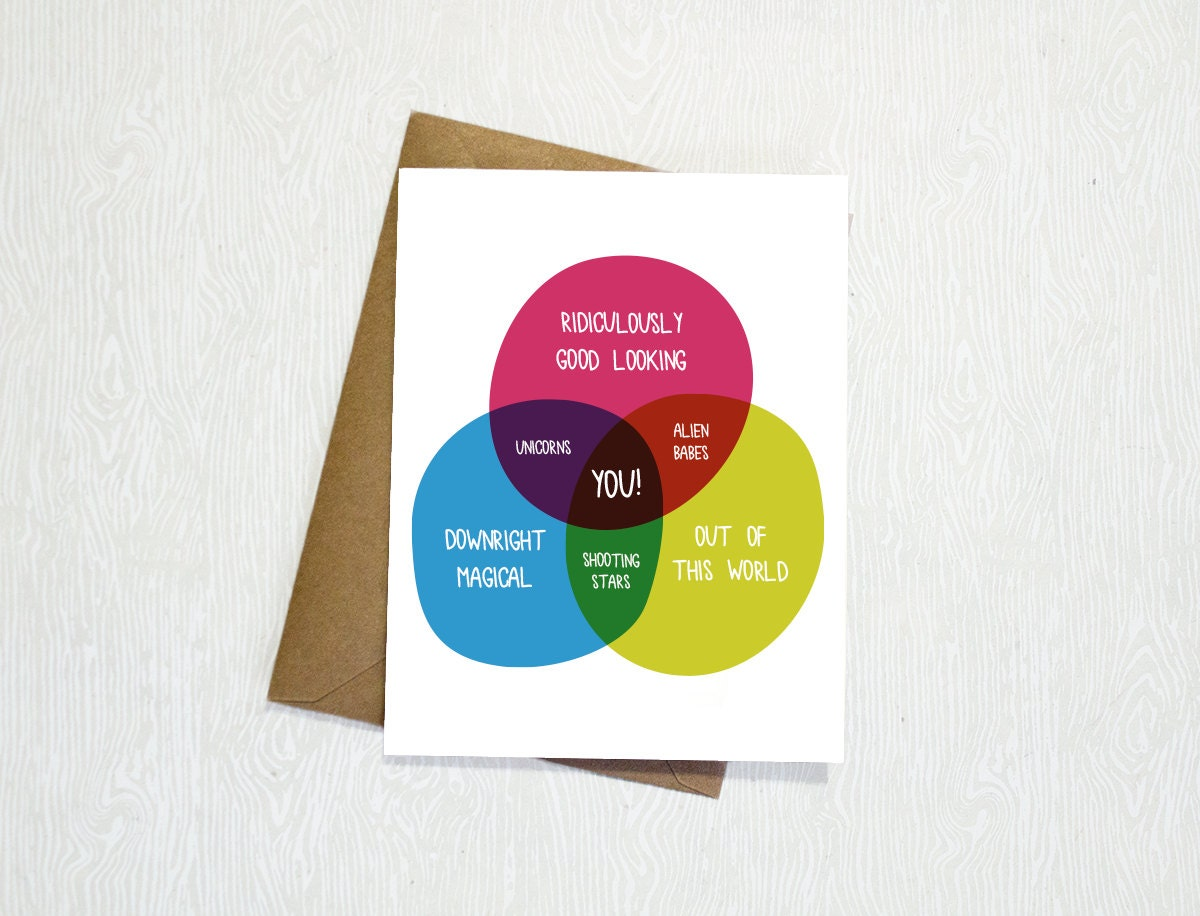 Funny venn diagram greeting card birthday friend love zoom pooptronica