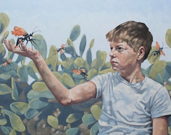 "Original Contemporary Fine Art, Oil Painting of Boy with Tarantula Wasps and Cactus, Modern Southwest Art - ""Mutual Innocence"""