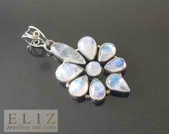 Sterling Silver Pendant Genuine MOONSTONE Cabochon Cut Exclusive Gift