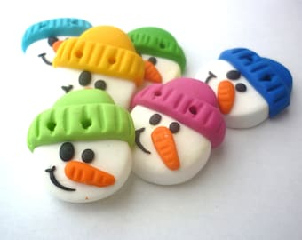 Christmas buttons- snowman buttons handmade with polymer clay