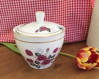Pretty Vintage Floral Sugar Bowl / Jam or Preserve Pot with Lid