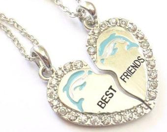 Dolphin Necklace Set Best Friends Necklace Best friends Jewelry Best Friend Necklace Rhinestone Necklace Broken Heart Necklaces Friendship