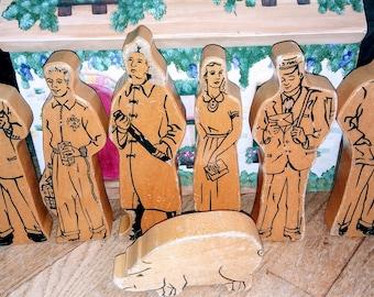Vintage 1960s Wooden Block Figures
